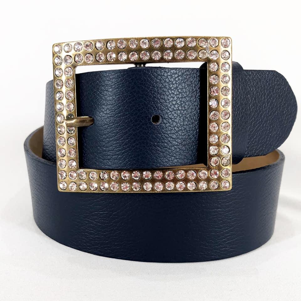Cinto de Couro Azul  com Fivela  Ouro Velho com Pedraria - 4 cm - Cintos Exclusivos - Feminino