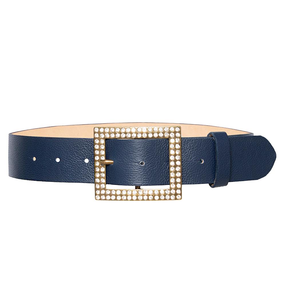 Cinto de Couro Azul  com Fivela  Ouro Velho com Pedraria - 4 cm - Feminino -   Linha Premium VC