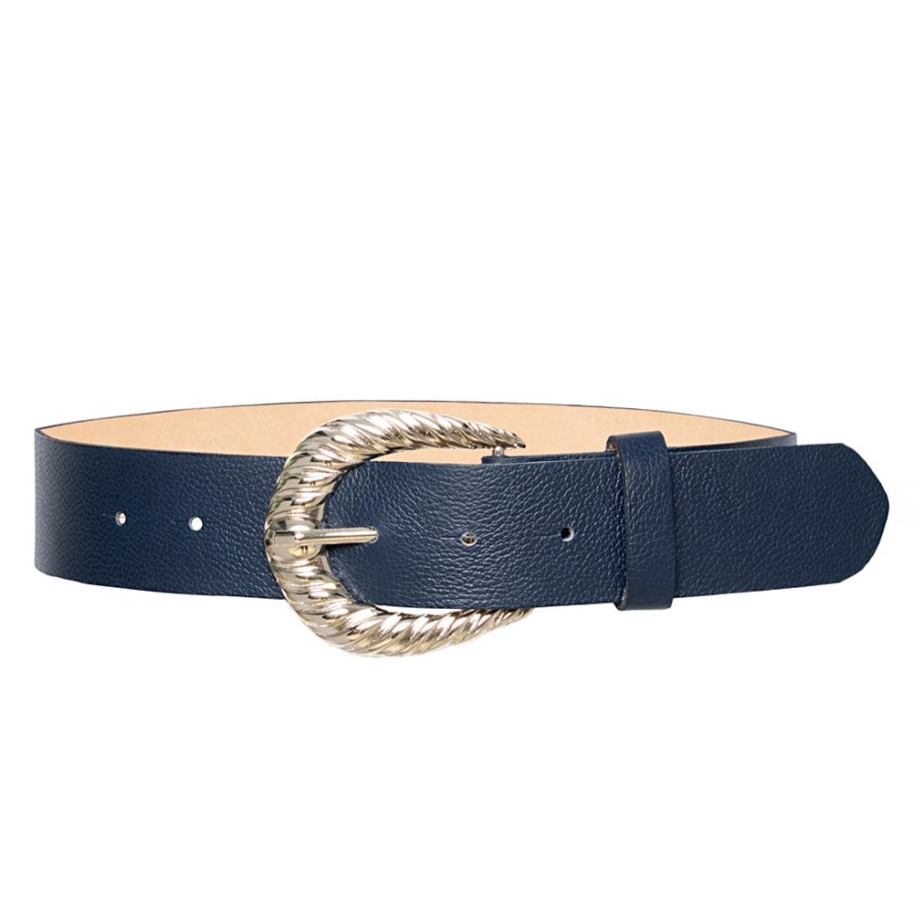 Cinto de Couro Azul  com Fivela  Prata - 4 cm - Feminino -   Linha Premium VC