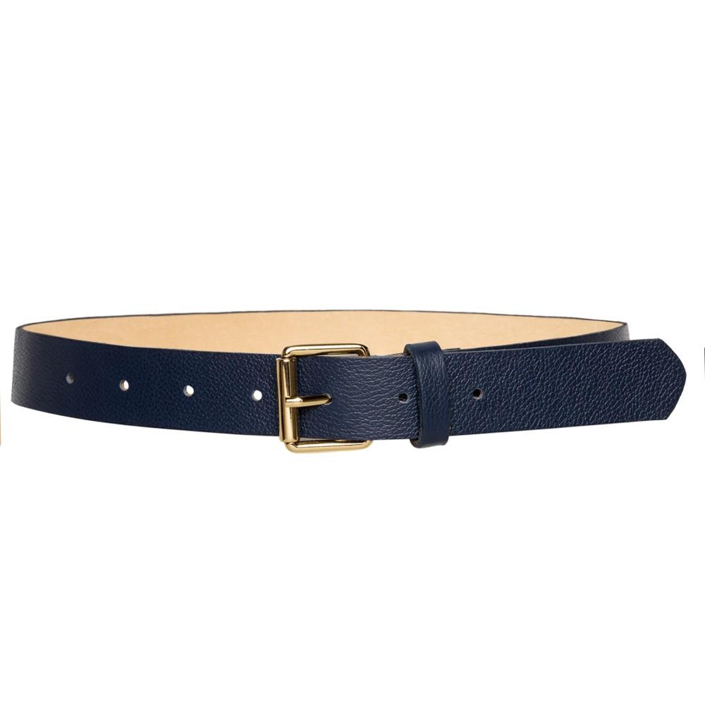 Cinto de Couro Azul Marinho com Fivela Simples Dourada - 3cm-  Cintos Exclusivos - Feminino