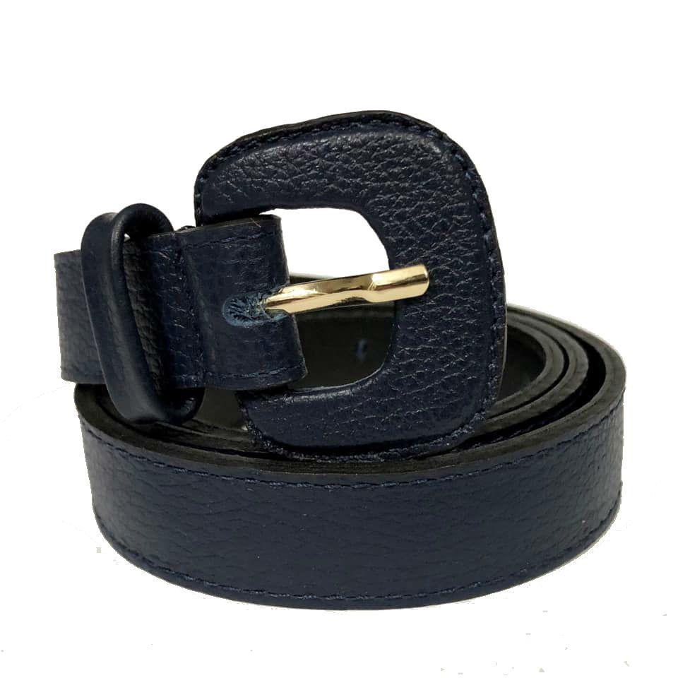 Cinto de Couro Azul Marinho Fino  2,5cm - Cintos Exclusivos - Feminino