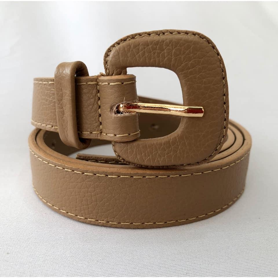 Cinto de Couro Bege Fino  2,5cm - Cintos Exclusivos - Feminino