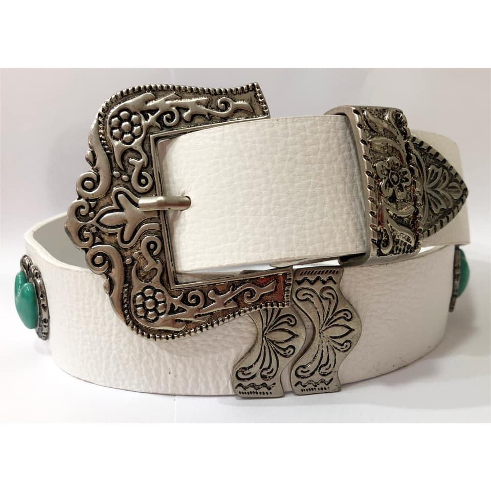 Cinto de Couro Branco com detalhe fivela e ponteira prata para cintura alta arabesco   - 4,0- cm