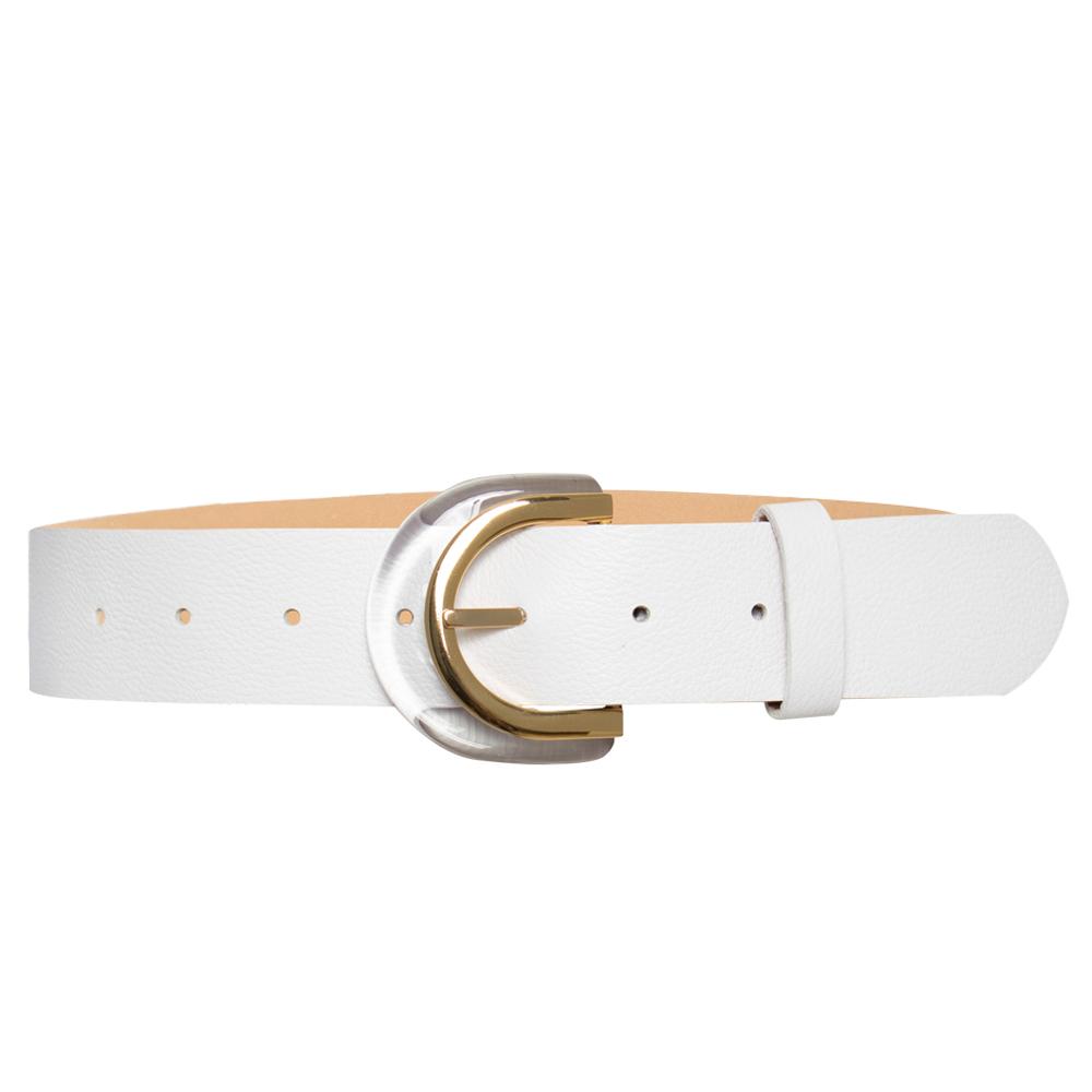 Cinto  de Couro Branco  com Fivela de Acrílico  - 4 cm - Linha Premium VC - Feminino