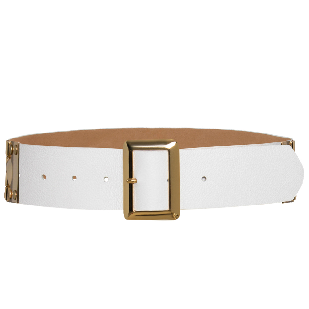 Edição Limitada - Cinto de Couro Branco com fivela dourada - 4,5 - cm - Linha Premium VC - Feminino