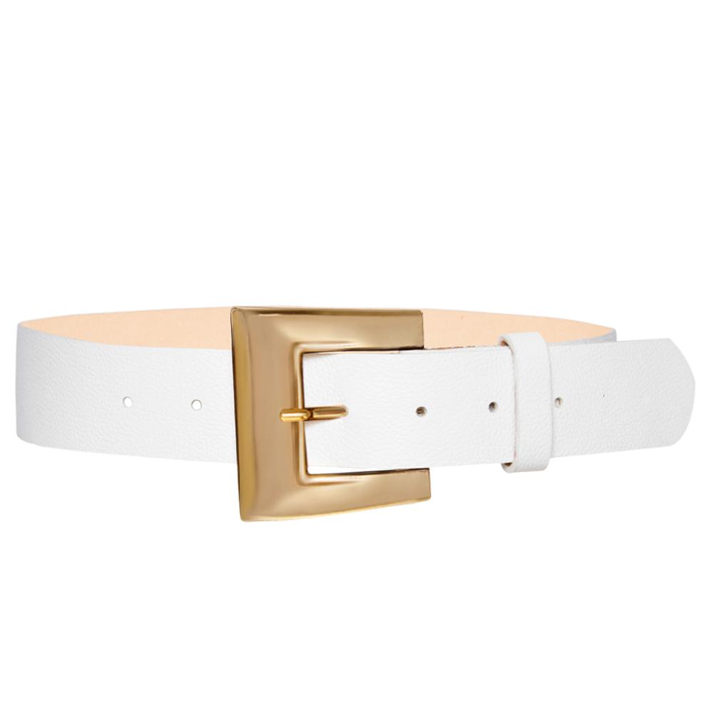 Cinto de Couro Branco com Fivela Dourada - 4 cm - Linha Premium VC - Feminino