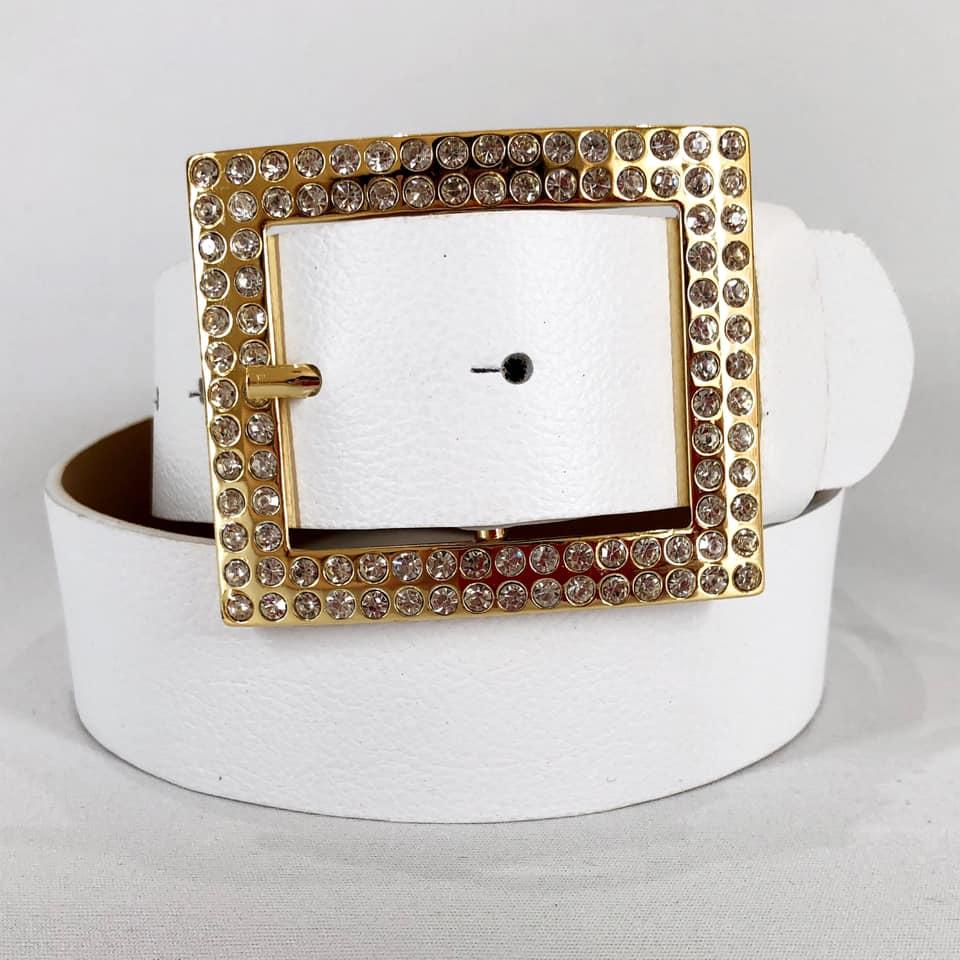 Cinto de Couro Branco com Fivela Dourada com Strass - 4 cm - Cintos Exclusivos - Feminino