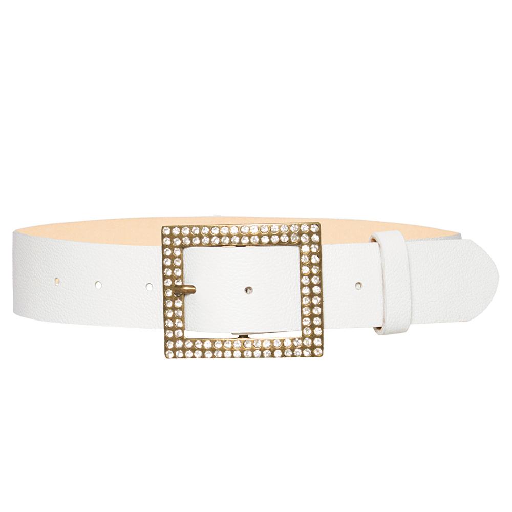 Cinto de Couro Branco com Fivela Ouro Velho com Strass - 4 cm - Feminino -   Linha Premium VC