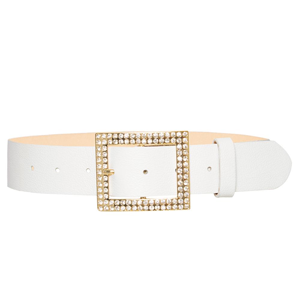 Cinto de Couro Branco com Fivela Dourada com Strass - 4 cm - Feminino -   Linha Premium VC