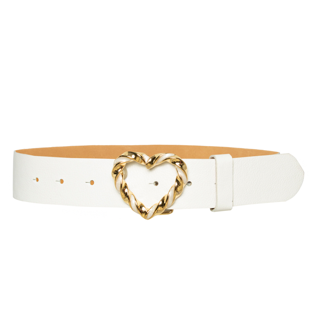 Cinto de Couro Branco com Fivela Dourada Coração - 4 cm - Feminino -   Linha Premium VC