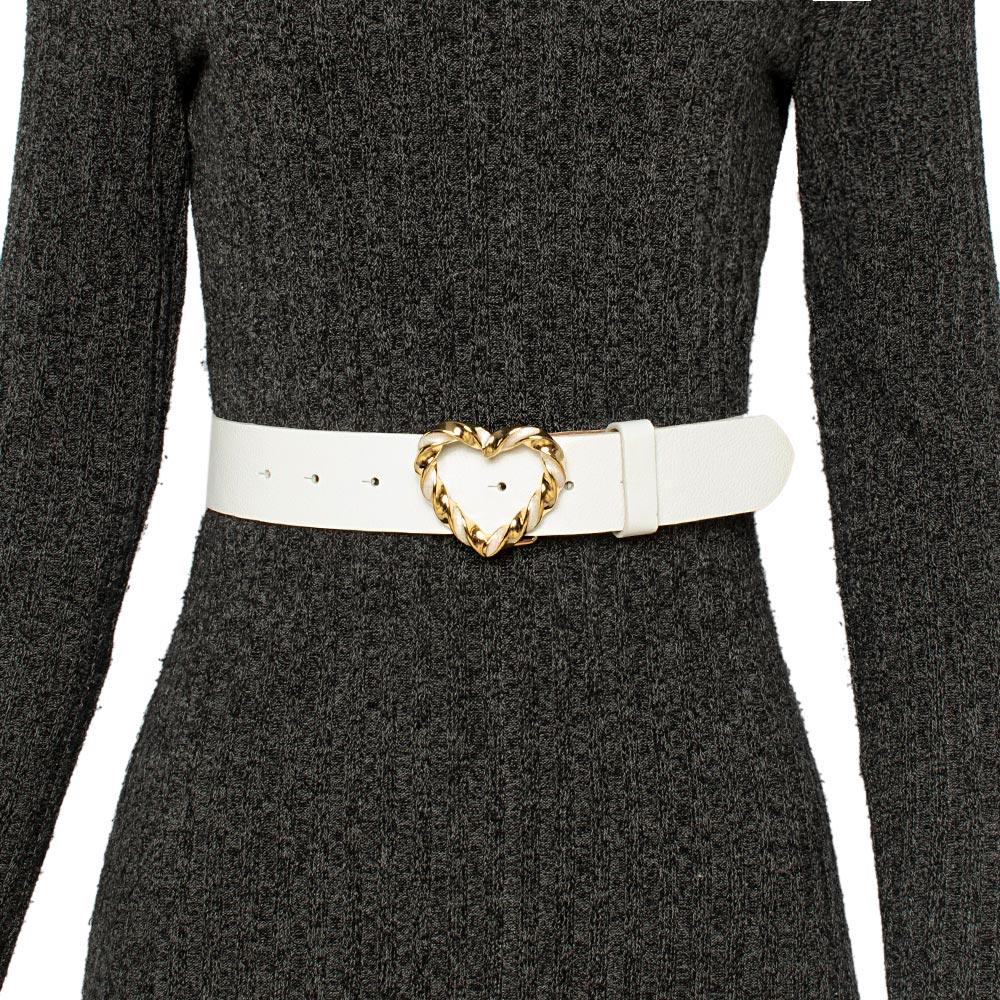 Cinto de Couro Branco com Fivela Dourada Coração - 4 cm - Cintos Exclusivos - Feminino