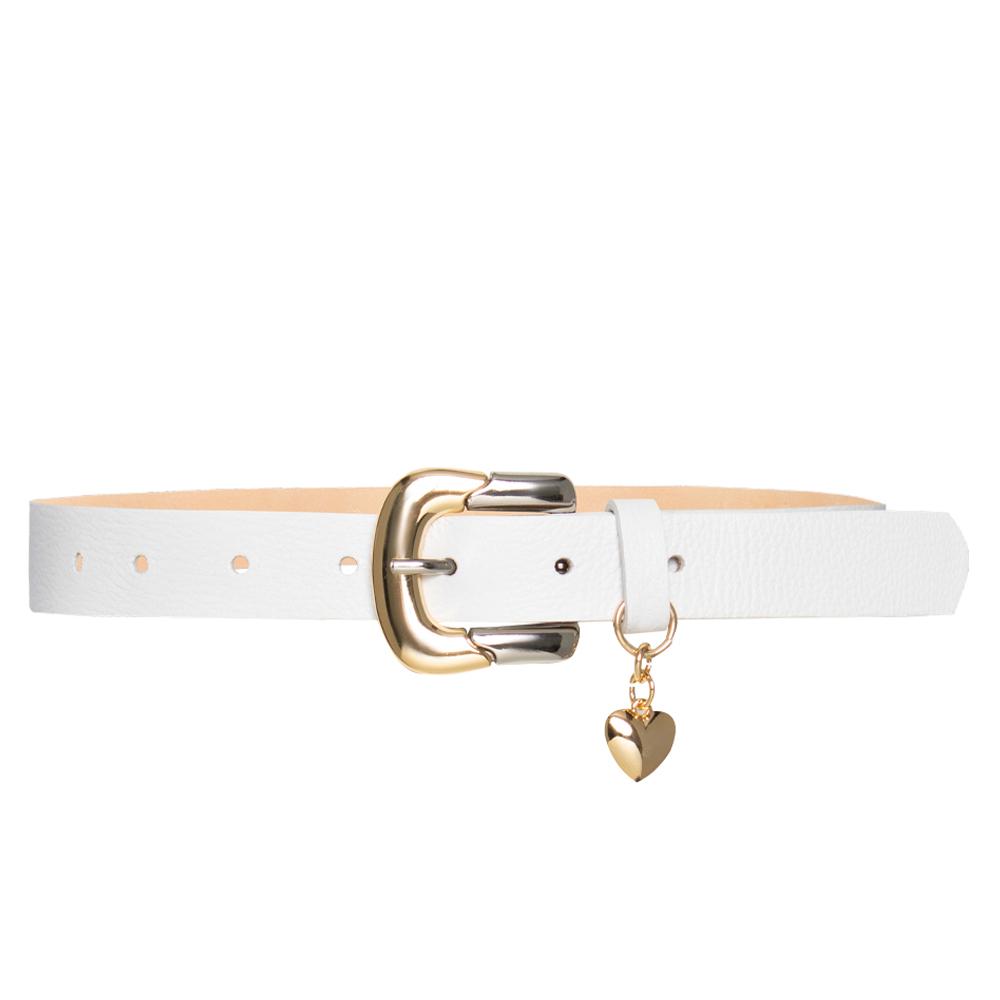 Lançamento - Cinto de Couro Branco  com Fivela Dourada e Prata  com - 2,5 cm  e pingente de coração -  Linha Premium VC- Feminino