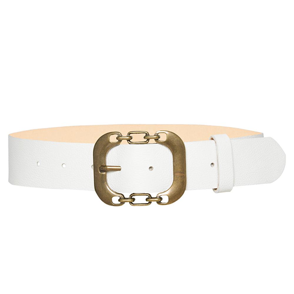 Cinto de Couro Branco com Fivela Ouro Velho  - 4 cm - Feminino -   Linha Premium VC