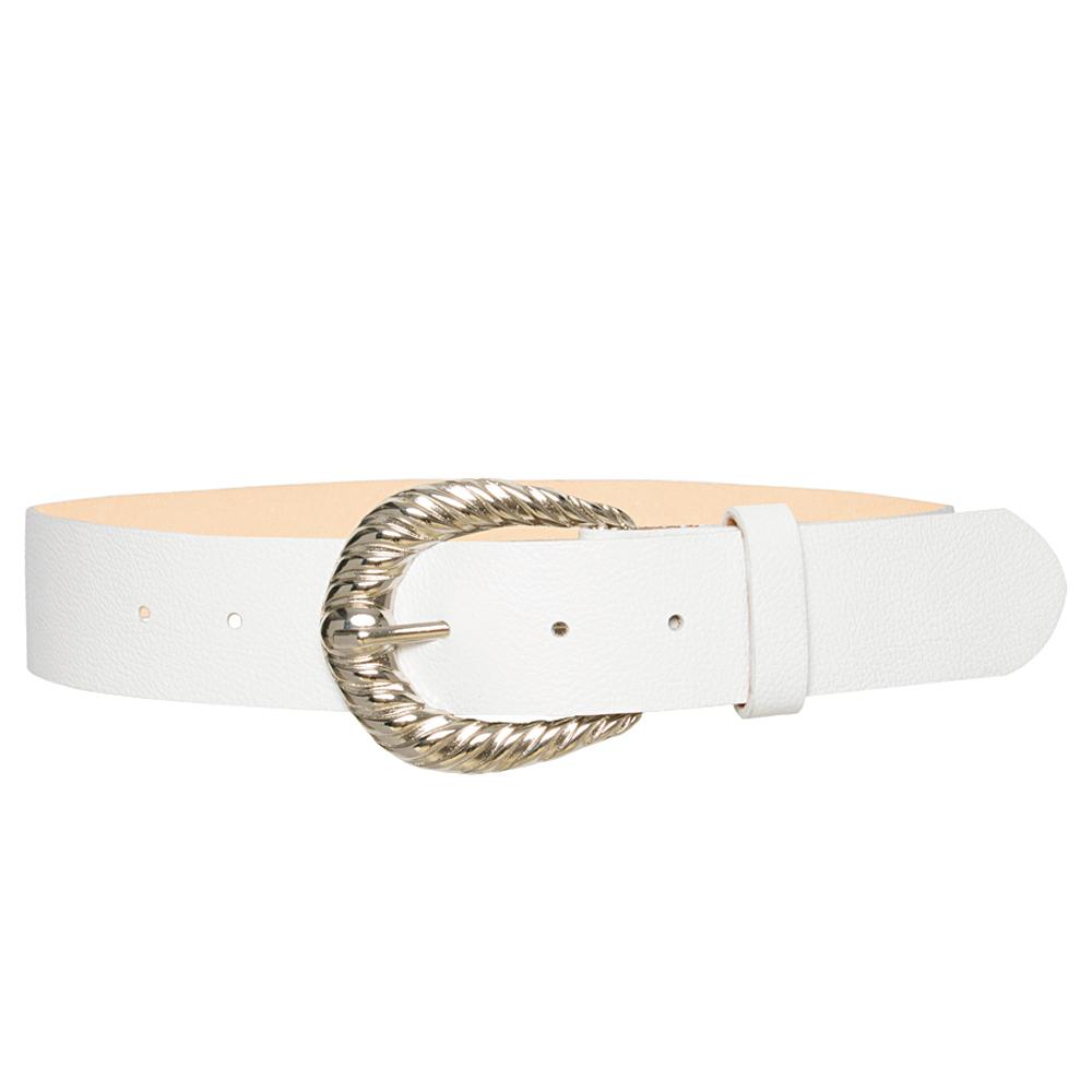 Cinto de Couro Branco com Fivela Prata  - 4 cm -Feminino -   Linha Premium VC