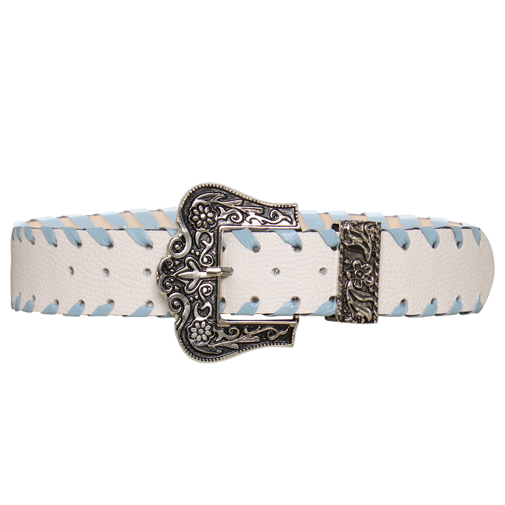 Cinto de Couro Branco com Fivela Prata e Detalhe Entrelaçado  - 3,5 cm - Linha Premium VC - Feminino