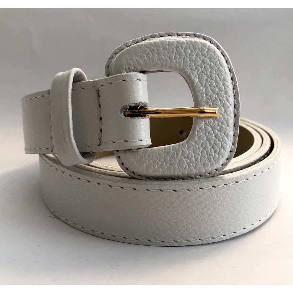 Cinto de Couro Branco Fino  2,5cm - Cintos Exclusivos - Feminino