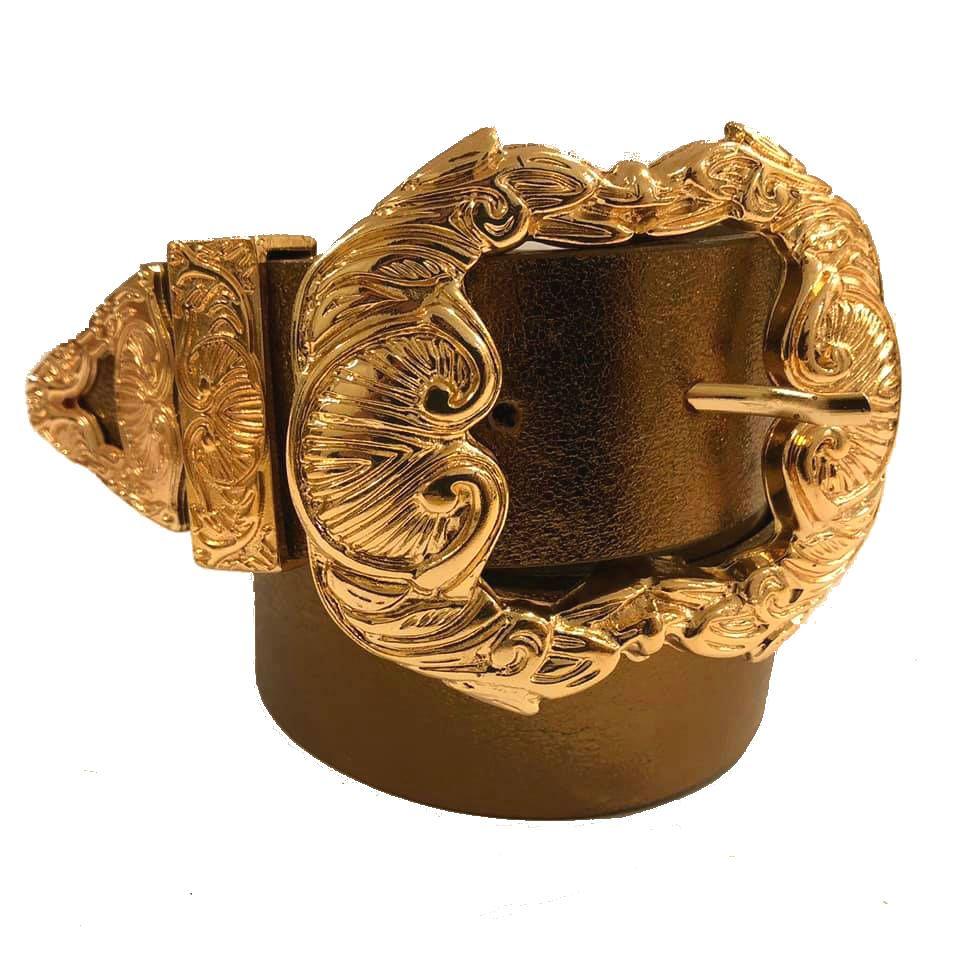 Cinto de Couro Bronze Metalizado  com fivela Arabesco Dourada e ponteira - 4 cm - Feminino