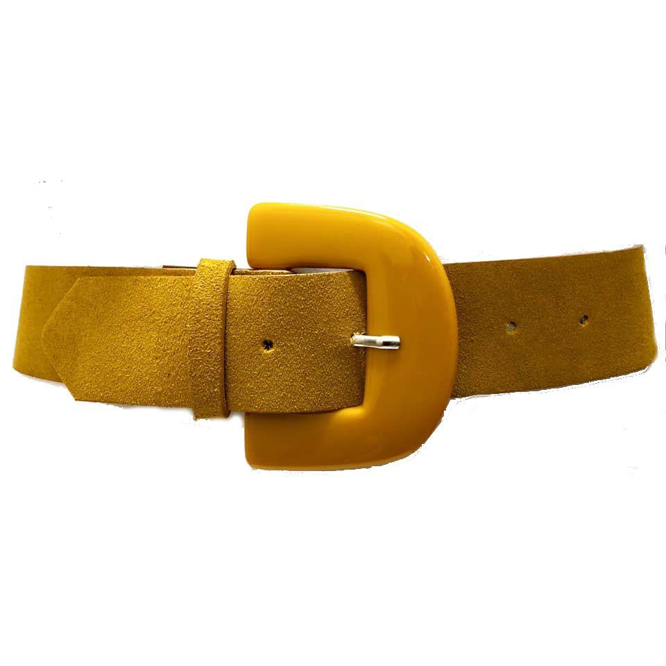 Cinto de Couro Camurça Amarelo  - 5,0 - cm - Cintos Exclusivos - Feminino