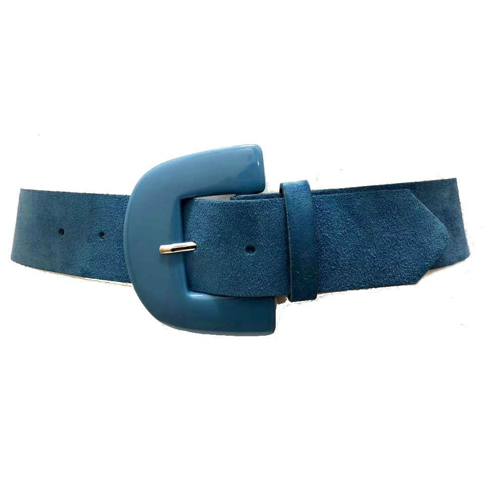Cinto de Couro Camurça Azul  - 5,0 - cm - Cintos Exclusivos - Feminino