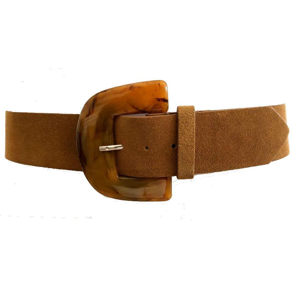 Cinto de Couro Camurça Bege  - 5,0 - cm - Cintos Exclusivos - Feminino