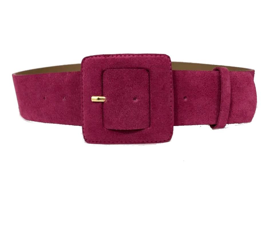 Cinto de Couro Camurça Rosa Pink  - 5,0 - cm - Cintos Exclusivos - Feminino