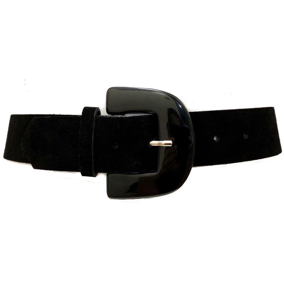 Cinto de Couro Camurça Preto  - 5,0 - cm - Cintos Exclusivos - Feminino