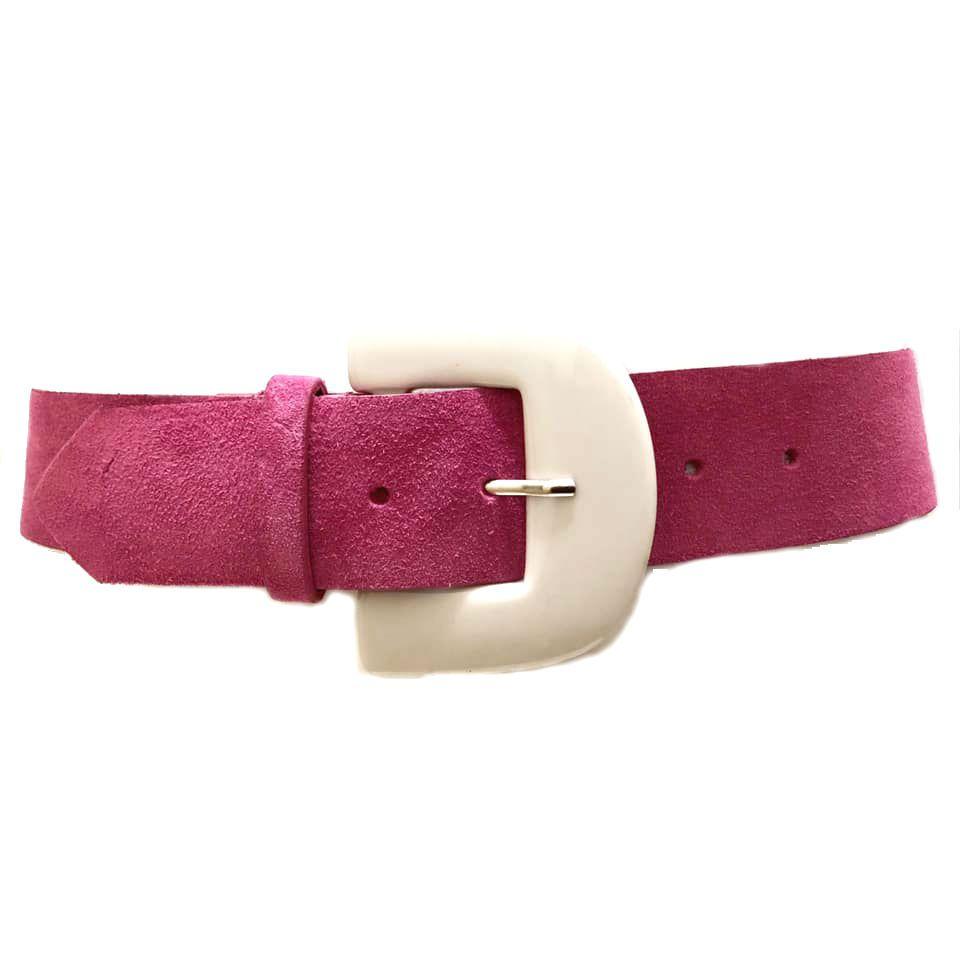 Cinto de Couro Camurça Rosa Chiclete - 5,0 - cm - Cintos Exclusivos - Feminino