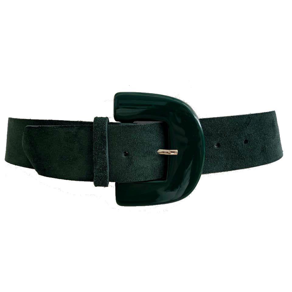Cinto de Couro Camurça Verde  - 5,0 - cm - Cintos Exclusivos - Feminino