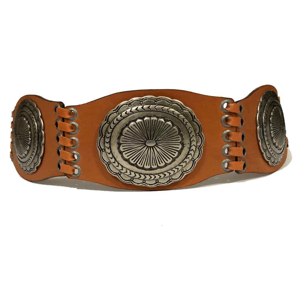 Cinto de Couro Caramelo com Aplicação em Prata  - 7,0 cm - Cintos Exclusivos - Feminino