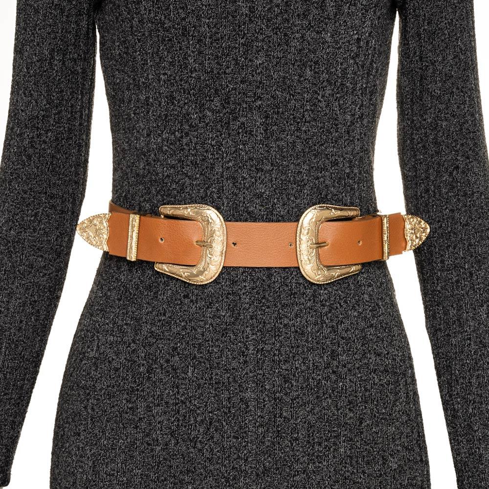 Cinto de Couro Caramelo com Duas Fivelas Douradas Western   - 3,5 cm - Cintos Exclusivos - Feminino