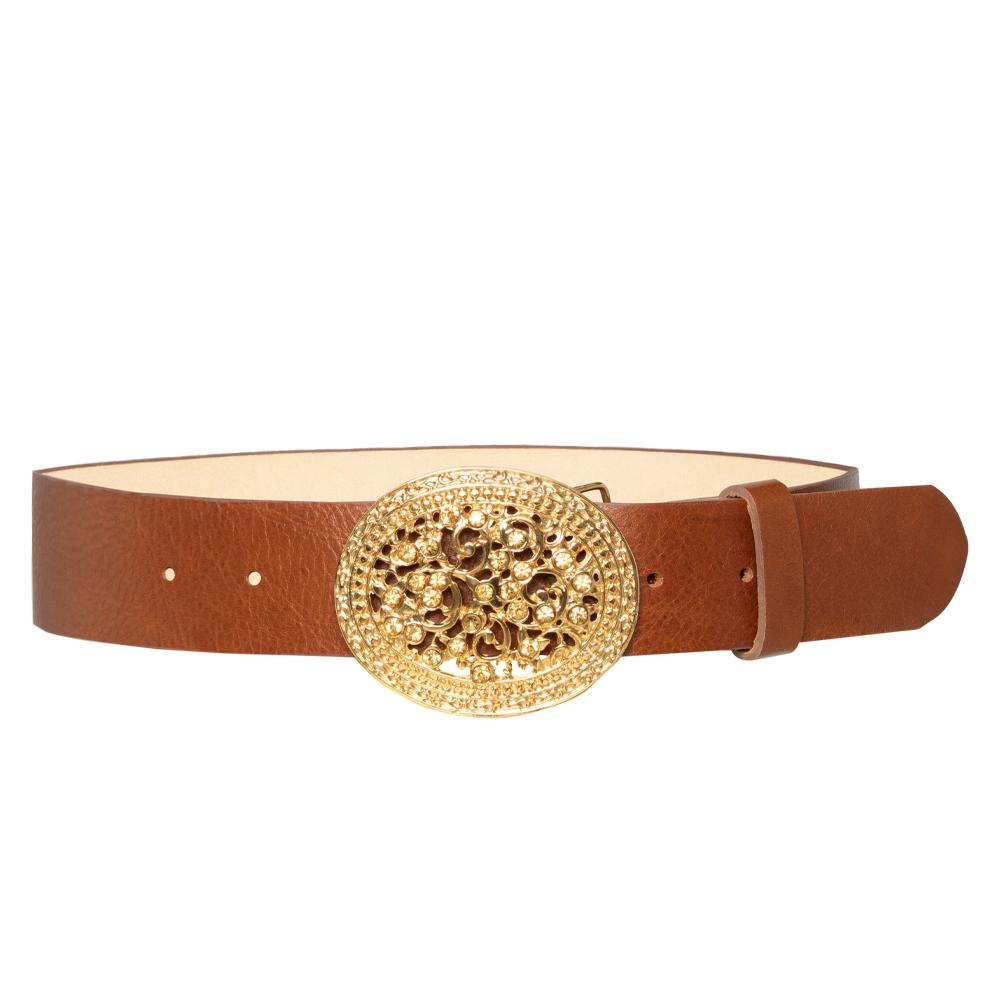 Cinto de Couro Caramelo com Fivela Dourada - 4 cm - Cintos Exclusivos - Feminino