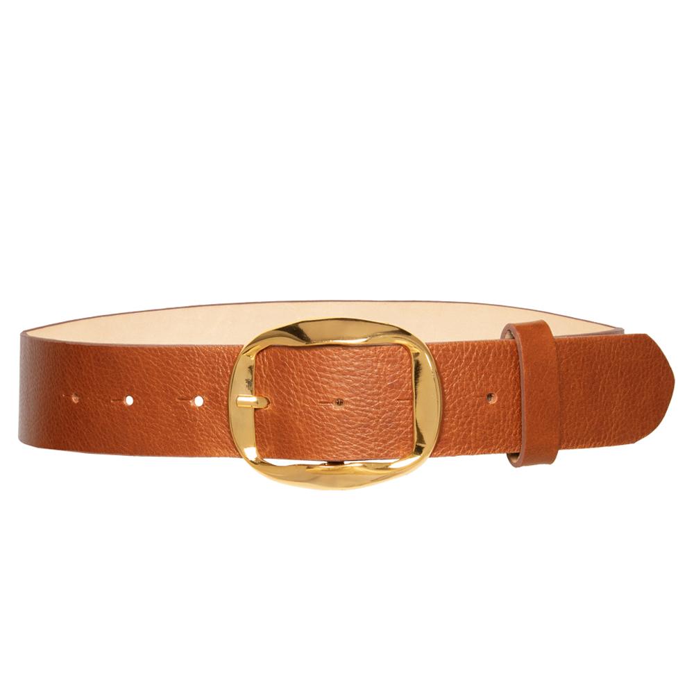 Cinto de Couro Caramelo com Fivela Dourada - 4 cm - Feminino -   Linha Premium VC