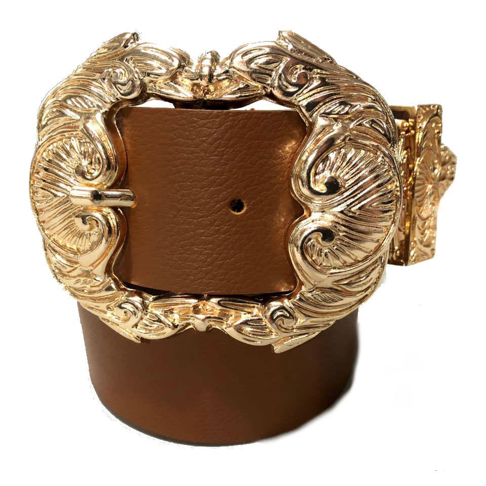 Cinto de Couro Arabesco Caramelo  com fivela Arabesco dourada e ponteira - 4 cm - Feminino