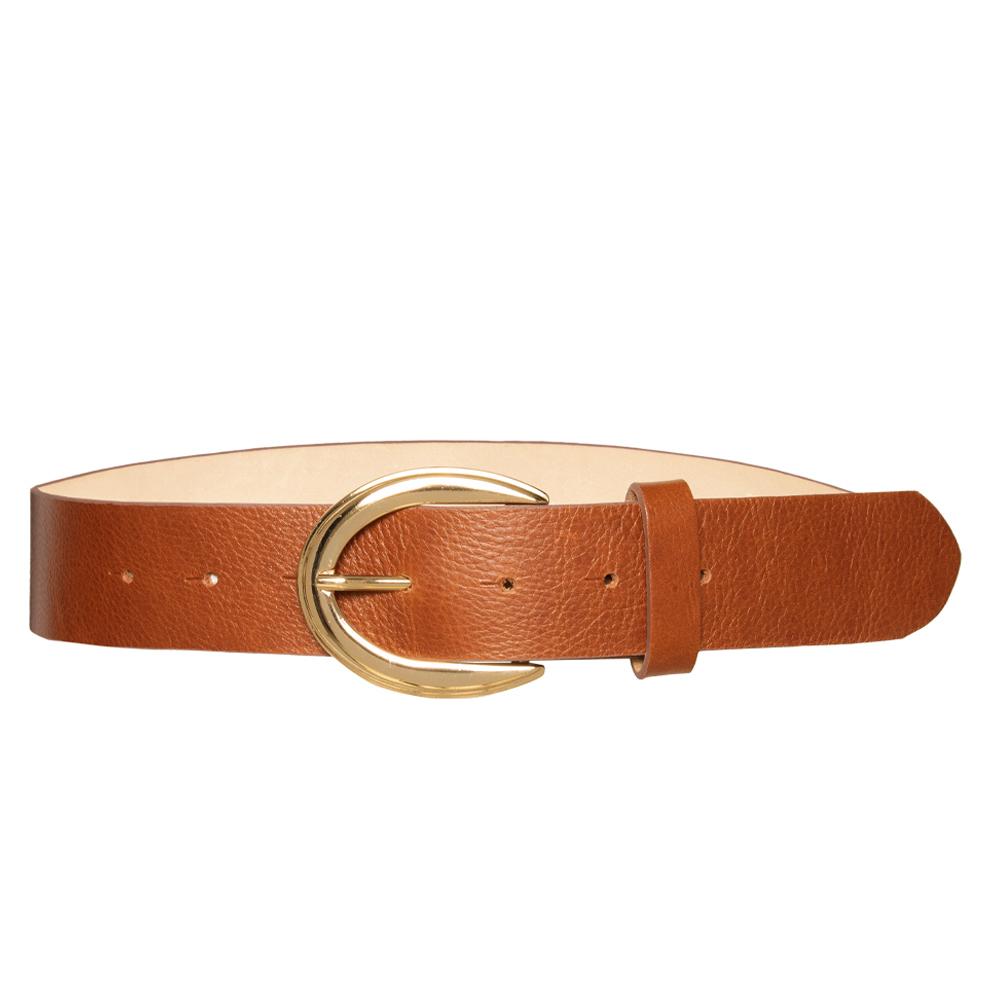 Cinto de Couro Caramelo com Fivela Dourada VC - 4 cm - Feminino -   Linha Premium VC