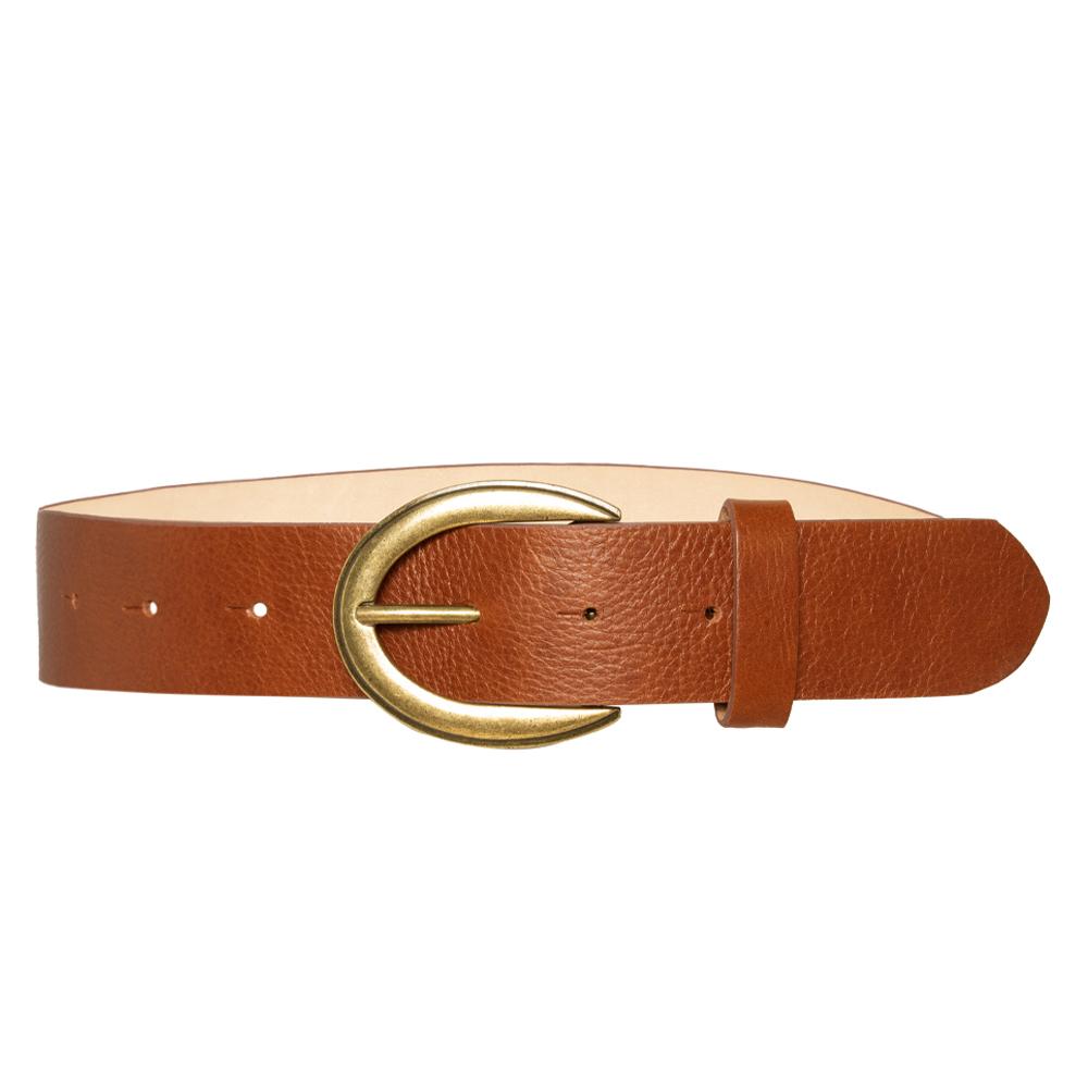 Cinto de Couro Caramelo com Fivela Ouro Velho VC - 4 cm - Cintos Exclusivos - Feminino