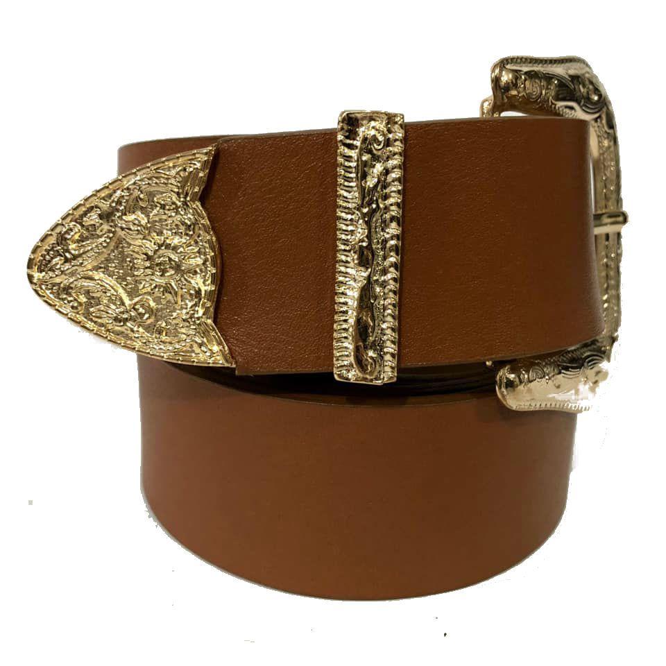 Cinto de Couro Caramelo com Uma Fivela e Ponteira Dourada  - 3,5 cm - Cintos Exclusivos - Feminino
