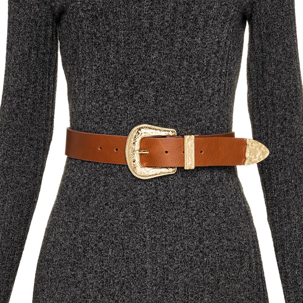 Cinto de Couro Caramelo com Uma Fivela e Ponteira Dourada Western  - 3,5 cm - Cintos Exclusivos VC- Feminino