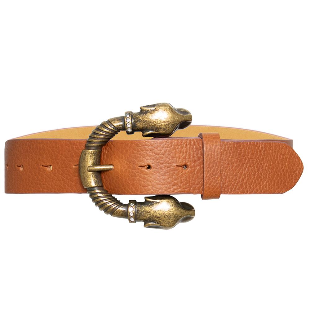 Cinto de Couro Caramelo Tigre com Fivela Dourada com detalhe em Strass - 4 cm - Feminino -   Linha Premium VC