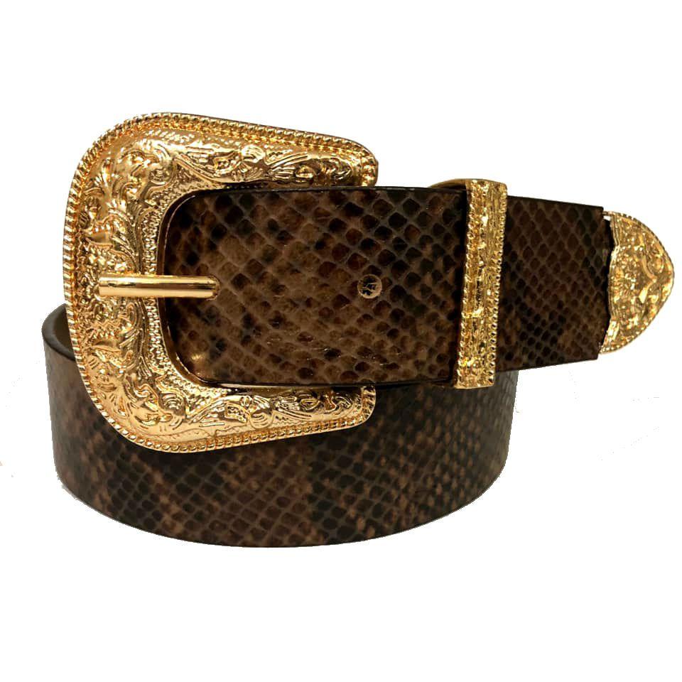 Cinto de Couro  Animal Print Cobra com Fivela e Ponteira Dourada Western   - 3,5 cm - Cintos Exclusivos - Feminino