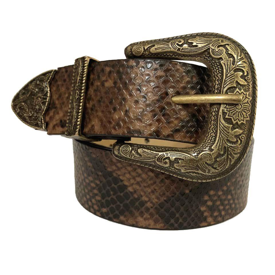Cinto de Couro  Animal Print Cobra com Fivela e Ponteira Ouro Velho Western   - 3,5 cm - Cintos Exclusivos - Feminino