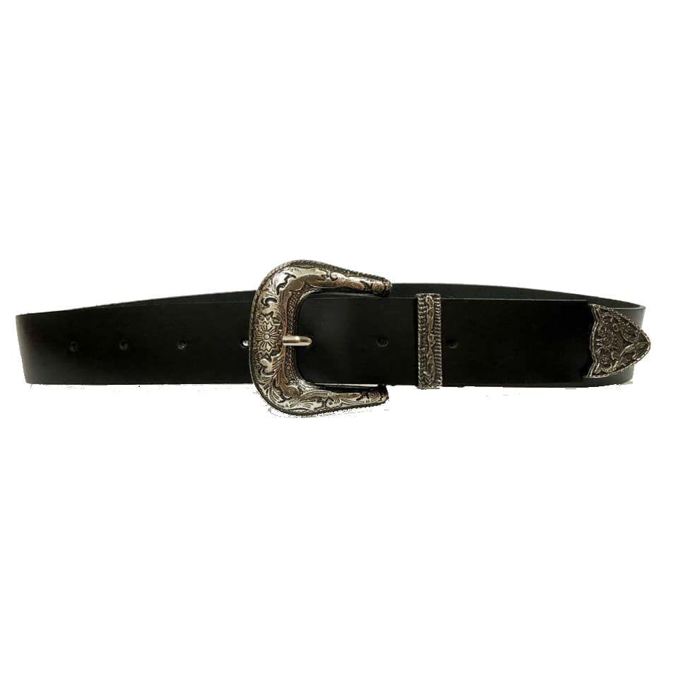 Cinto de Couro Preto com Uma Fivela e Ponteira Prata  - 3,5 cm - Cintos Exclusivos - Feminino