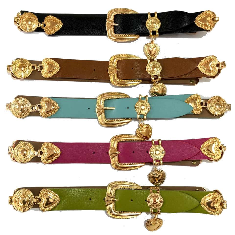 Cinto de Couro com detalhe fivela e ponteira dourada para cintura alta arabesco   - 4,0- cm