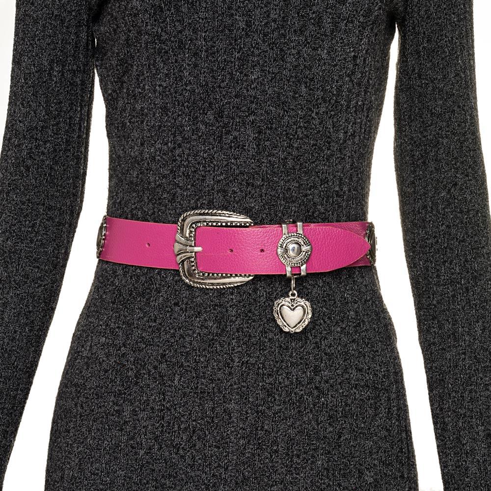 Cinto de Couro com detalhe fivela e ponteira prata para cintura alta arabesco   - 4,0- cm
