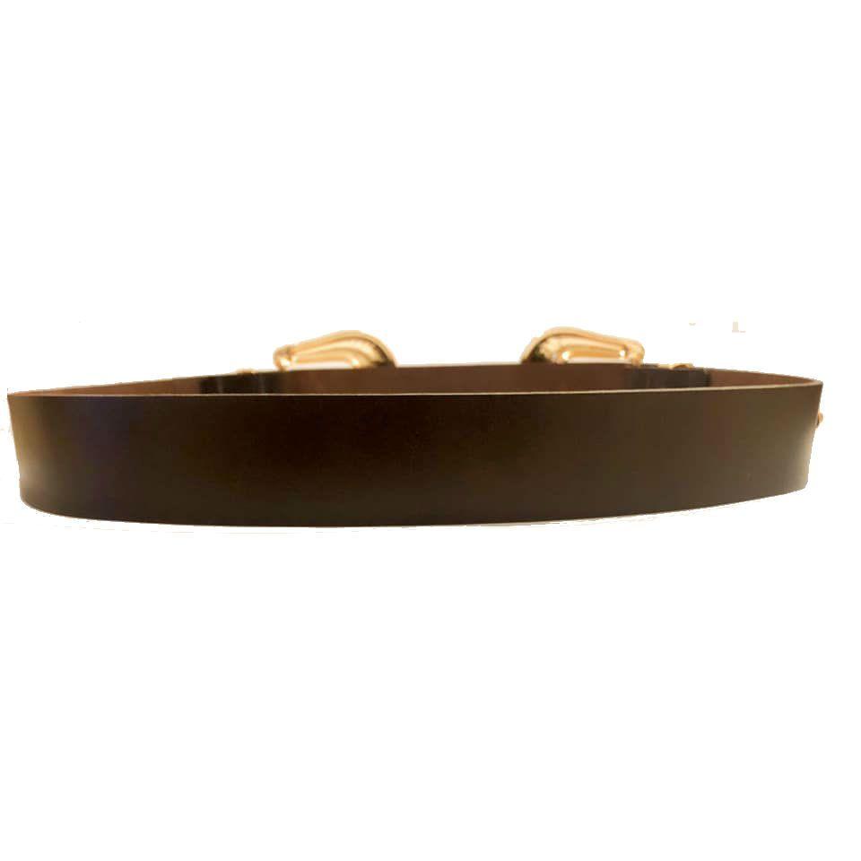 Cinto de Couro Marrom com Duas Fivelas Douradas  - 3,5 cm - Cintos Exclusivos - Feminino
