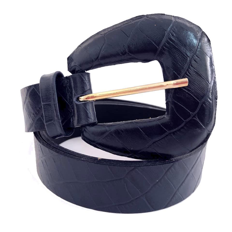 Cinto de Couro Croco Azul Marinho  com fivela encapada - 3,0 - cm - Cintos Exclusivos - Feminino