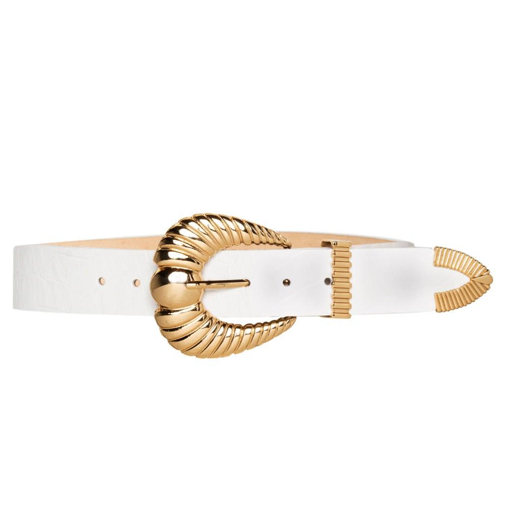 Cinto de Couro Croco Branco com fivela e ponteira dourada - 3,5 - cm - Cintos Exclusivos - Feminino