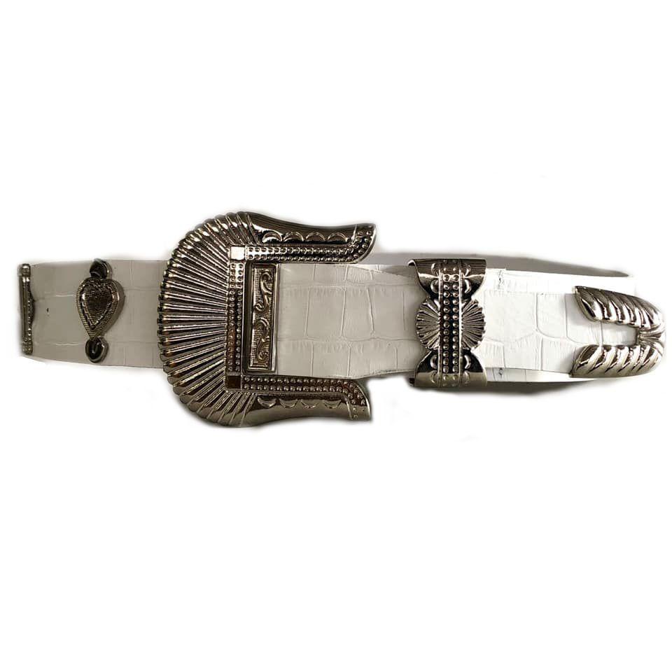 Cinto de Couro Croco Branco  com fivela e ponteira prata  - 3,5 - cm - Cintos Exclusivos - Feminino