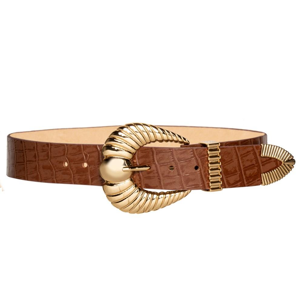 Cinto de Couro Croco Caramelo com fivela concha e ponteira dourada - 3,5 - cm - Cintos Exclusivos VC- Feminino
