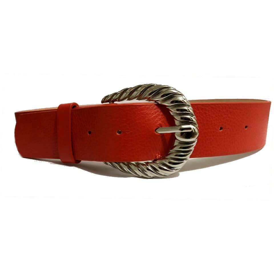 Cinto de Couro com Fivela Prata Arabesco - 4 cm - Cintos Exclusivos - Feminino