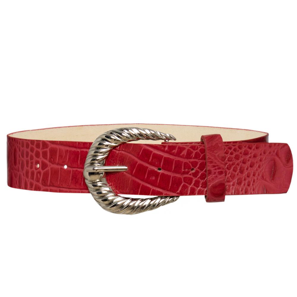 Cinto de Couro  Croco Vermelho  com Fivela Prata Arabesco  - 4 cm - Linha Premium VC - Feminino